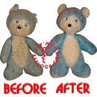 Restoration blue teddy bear for girl.