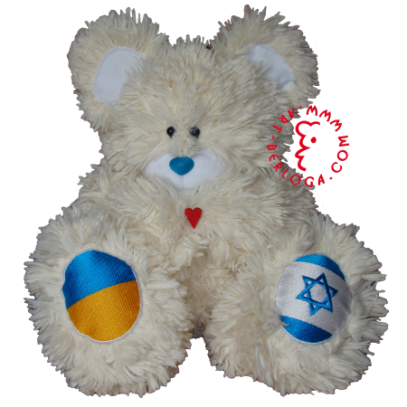 Individual teddy bear of people`s friendship