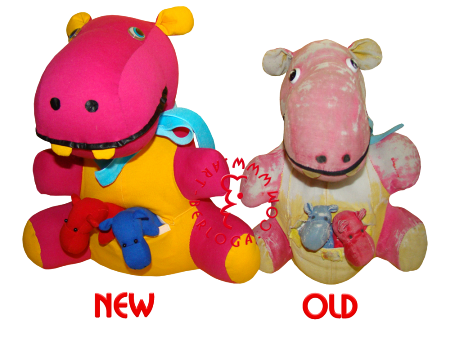 Restoration and cloning stuffed hippo.