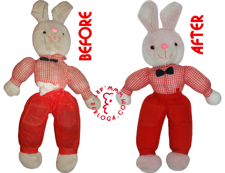 Restoration of stuffed toy bunny (20 years)