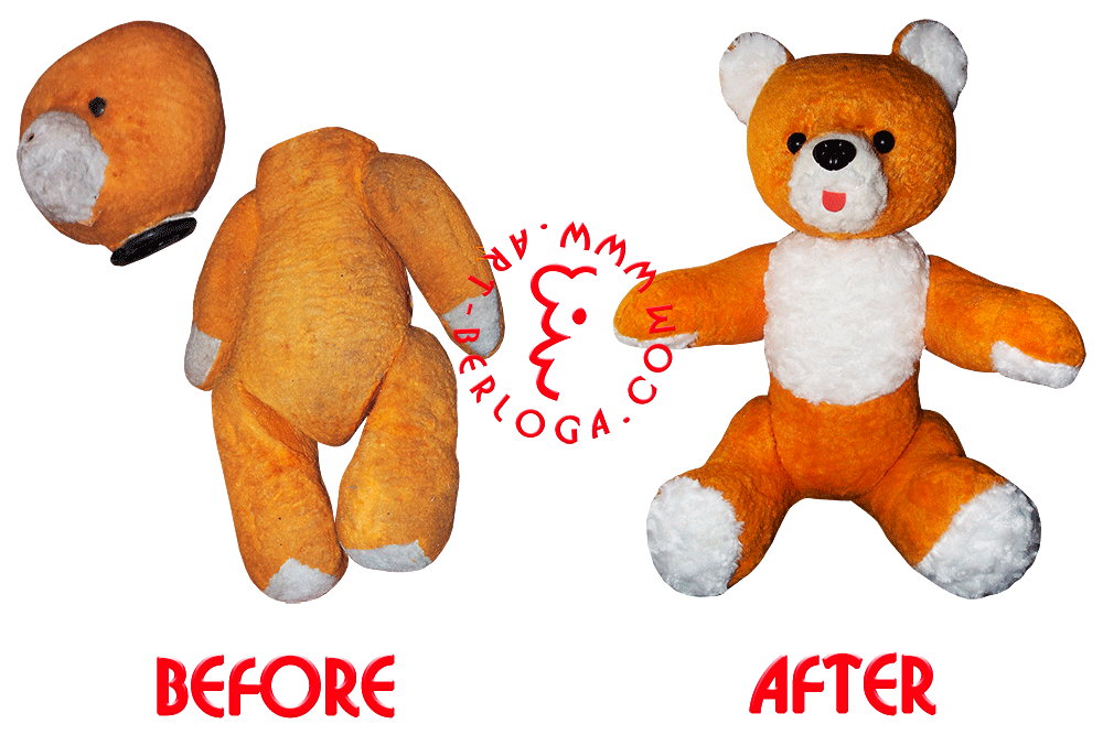 Restoration Of Soft Toy 35 Year Old Yellow Bear Mounting Tines On