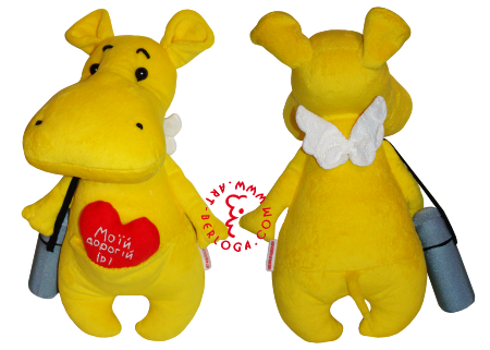 Custom sewing of yellow hippopotamus.