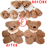 Reanimation assembly of wedding bears.