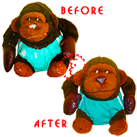 Restoration of plush monkey boxer.