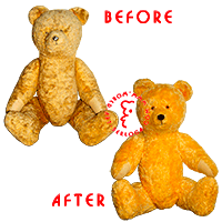 Restoration of yellow teddy bear.