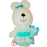 Flirt toy lady bear in turquoise