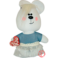 Flirt toy lady bear in grey dress