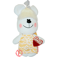 Flirt toy lady bear in yellow dress