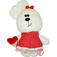 Flirt toy lady bear in red dress