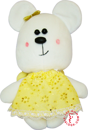 Flirt toy lady bear in yelow