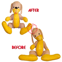Restoration of a 40-year-old plush dog